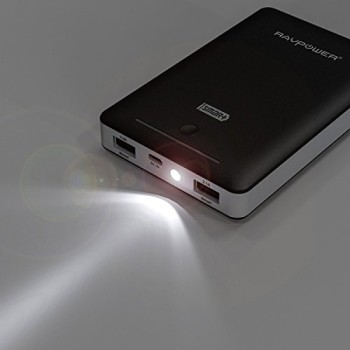 RAVPower-16000mAh-Externer-Akku-mit-eingebautem-Flashlicht-2A-Adapter-Schwarz-0-1