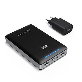 RAVPower-16000mAh-Externer-Akku-mit-eingebautem-Flashlicht-2A-Adapter-Schwarz-0