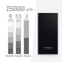Lumsing-Glory-Series-P1-Plus-15000mAh-PowerPack-Ultra-dnn-Externe-Batterie-Akku-3-USB-Ports-Reiseadapter-fr-iPhone-Samsung-S6-Edge-HTC-Smartphones-Tablets-Schwarz-0-1